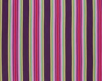 Free Spirit Fabric Tula Pink chipper- Tick Tock Stripe in Rasberry SALE