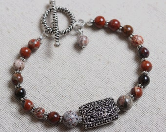 Embellished Silver Focal and Poppy Jaspser Beaded Bracelet with Toggle Clasp