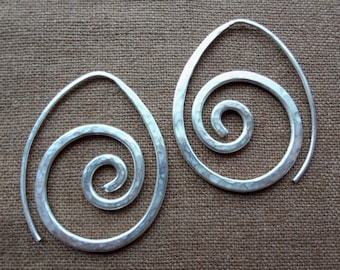 Hand hammered sterling silver spiral swirl threader earrings. One-piece, unique, abstract faux-gauge soldered silver unisex earrings.