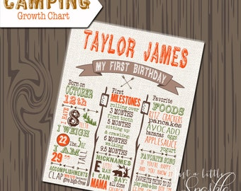 Growth Chart, Printable camping Growth chart, Camping Growth Chart