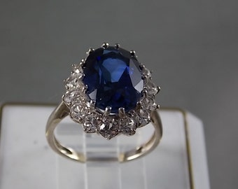 Sapphire Halo Ring 9.35Ctw Sterling Silver 5gm Size 6.75 Statement Ring