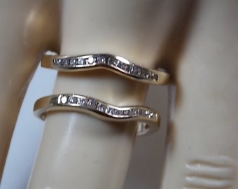 Diamond Ring Set of Two .24Ctw Yellow Gold 14K 4.42gm Size 8 Guard Set or Stacking Rings  - Solitaire NOT included