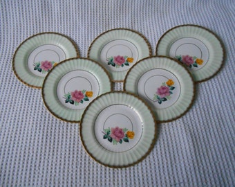 6 Floral Tea  Plates Vintage Ceramic  Decorative Cake Plate Bone China Englaand Royal Imperial