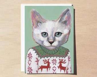 Alex - Holiday Greeting Card - Blank Inside - Cats In Clothes