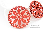 Dyeing Series - 50x 50mm Variety of Colors Filigree  Round Pattern Wood Dangle/ Wooden Charm/Pendant NM40