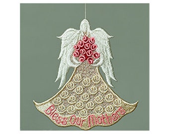 Lace Angel, Bless Our Mothers Angel, Machine Embroidery Lace Angel