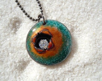 Rustic Weathered Enamel Copper Necklace  |  Artisan Jewelry