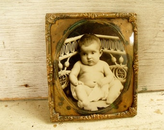 Photo Frame Small Copper Foil Embossed Detail Antique Rustic Baby Photo
