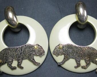 Vintage Brass Tiger Earrings - Pierced - Lucite and Brass Earrings