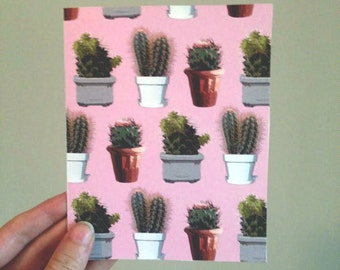 Pink Cactus No occasion Card