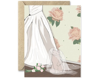 Cat Engagement Card- Kitten Wedding greeting card