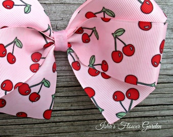 Pink cherries hair bow, Cherry hairbow
