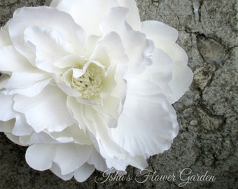 White peony hair flower clip, realistic, peony hair flower