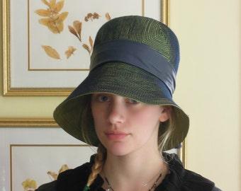Vintage 1960's Blue Green Mod Hat / Otto Lucas Hat / Bond Street London / Stitched Straw Hat / Wide Brim Hat / Leather Band