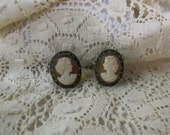 Vintage Sterling Silver Cameo Earrings Marcasite Hand Carved Shell