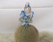 Vintage Half Doll Pincushion Arms Away Porcelain