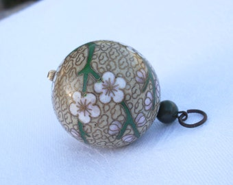 Vintage Cloisonne Pendant Accessory with Jade Bead Dogwood Blossoms Motif
