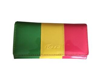Candy color Clutch Purse Wallet bag PU leather Rasta Reggae Dancehall DHQ Jamaica Swag Caribbean