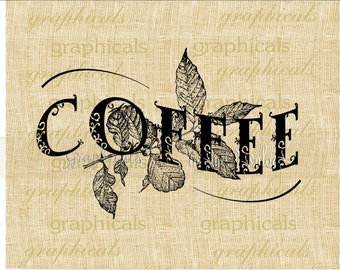Coffee label instant clip art Black Brown Blue digital download for iron on image transfer to fabric burlap tote pillow Decoupage 2289