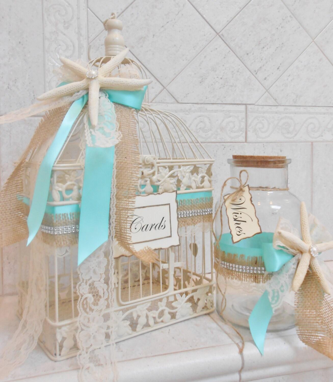 Beach Wedding Card Box - Birdcage Card Holder - Summer Wedding Decor ...
