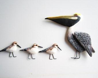 Nautical beach wall decor-Florida bird art-sandpipers-Pelican sculpture