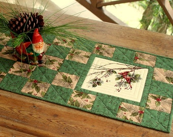 Cardinal Table Runner, Quilted Green Table Runner, Holly and Pines, Rustic Cabin Decor, Winter Table Runner, Quiltsy Handmade