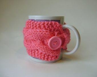 Double Cable Cup Cozy in Flamingo Pink, Mug Cozy, Tea Cozy, Mug Sleeve, Mug Sweater, Cup Warmer