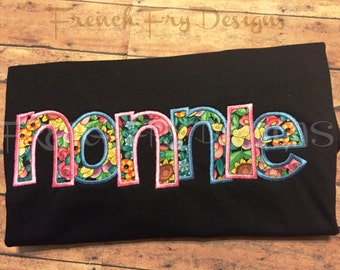 Grandmother Brag applique shirt for NONNIE Customized and Personalized