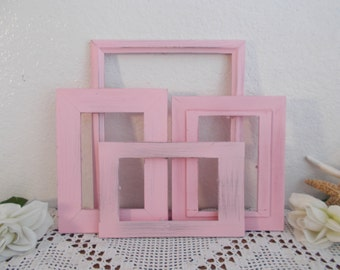 Pink Picture Frame Set Shabby Chic Romantic Cottage French Country Paris Apartment Feminine Southern Home Decor Girl Nursery Bedroom Gift