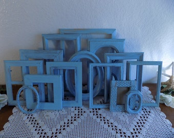 Blue Picture Frame Set Beach Cottage Coastal Seaside Shabby Chic French Country Farmhouse Rustic Distressed Summer Photo Gallery Collection