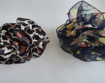 Vintage Hair Accessories,Large Hair Claw in Animal and Flora Print,80s Fashion