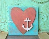 Sea Green and Pink Heart Accent Sign, Wooden Home Decor Signs, Gallery Wall Accent Signs, Rustic Heart with Anchor Sign