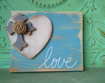 Rustic Sky Blue, Gray and Ivory Love Sign, Gallery Wall Love Sign, Wooden Home Decor Love Signs