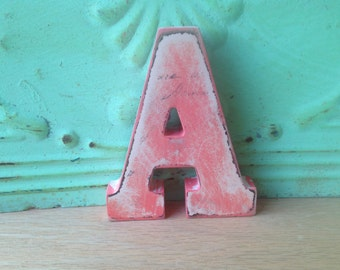 Coral and Ivory Letter A, Wooden Home Decor Letter A, Gallery Wall Letter A Hanger, Initial A Shelf Sign