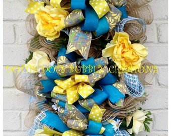 Blue & Yellow Spring/ Summer Floral Jute Mesh Swag Wreath , Spring Swag, Summer Swag,