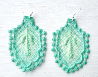 Mint Green Ombre Lace Earrings  // Lace Jewelry