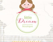 Little girl logo design, boutique logo, kids boutique logo design, ooak premade logo
