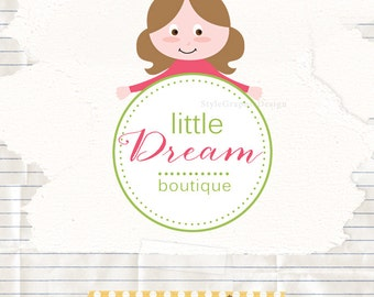 Little girl logo design, boutique logo, kids boutique logo design, ooak premade logo