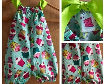 Spring/Summer Cotton Cupcake Bubble Romper, size 18 months