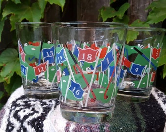 SALE///Vintage (4) Golf Par Four Tumbler Glasses Barware, Culver Made in the USA