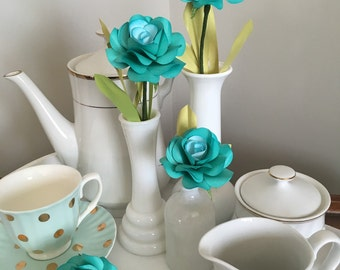 Tiffany blue paper roses, perfect forever flower. Set of 4 roses with leaves