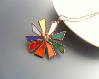 Statement necklace, stained glass pendant, colorful jewelry, bohemian necklace, gift for women,  artistic, contemporary jewelry, Big bang