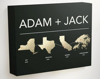Gay Wedding Gift, Gay Gift, Gay Anniversary, Couples Gift, Gift for Coworker, Map Wedding Gift, Wedding Gifts for Couple, Wedding Gift