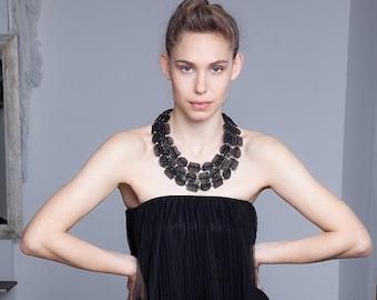 Elegant Black Triple statement necklace - Chunky statement necklace - Bib textile statement necklace - Christmas Gift idea -  sale