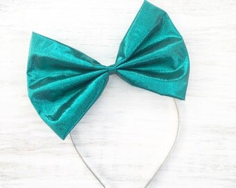 Mermaid green lamé bow headband - Kawaii - Pin up