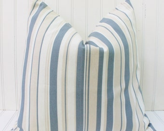 Blue stripe pillow, pillow cover, throw pillow, accent pillow, gray blue tan white stripe cushion cover 18 inch