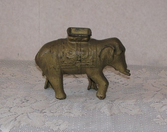 Vintage Cast Iron Elephant Bank - Large