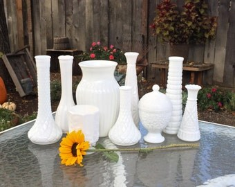 Milk Glass Vase Collection, Set of 9 for Weddings, Home Decor, Assorted Milk Glass Vase Collection,  Shabby Chic Wedding Vase Decor