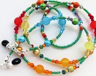 CHEERFUL SUMMER- Handmade Beaded Eyeglass Lanyard/ Eyeglass Chain- Lucite Beads, Spectra Beads and Sparkling Crystals