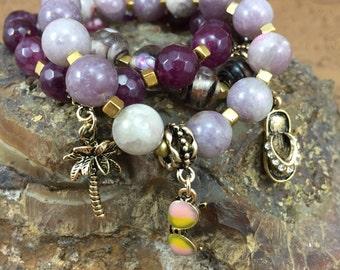 Amethyst Bracelets, Choose Palm Tree, Sandal or Sunglasses Charm